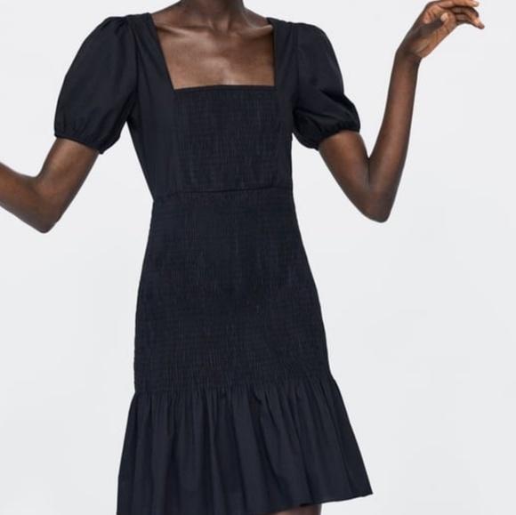 Zara Dresses & Skirts - NWT Zara Stretchy Elasticized Frock Dress Black